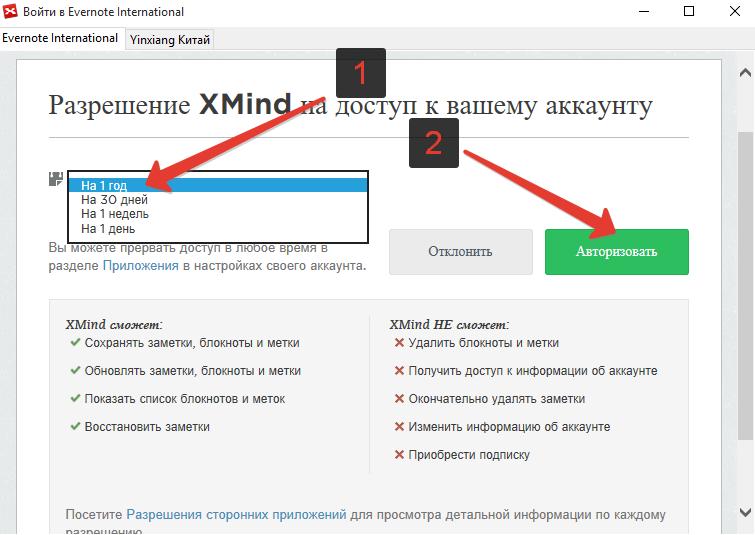 Разрешение XMind на доступ к вашему аккаунту