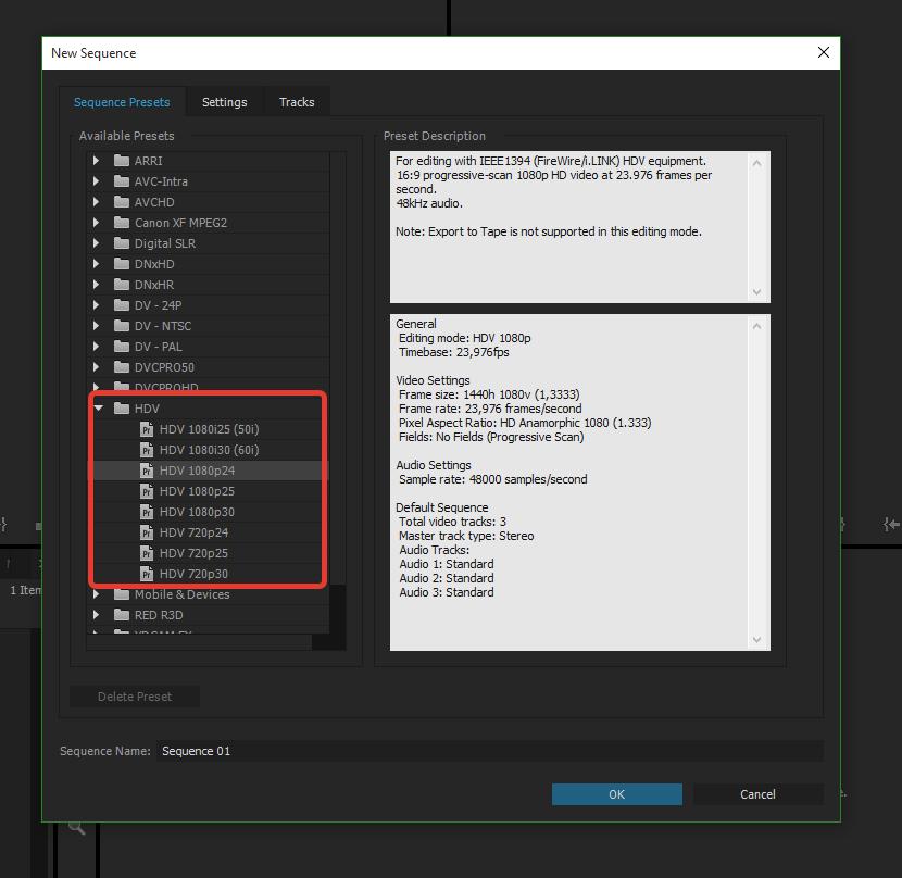 Настройки секвенции в программе для монтирования видео