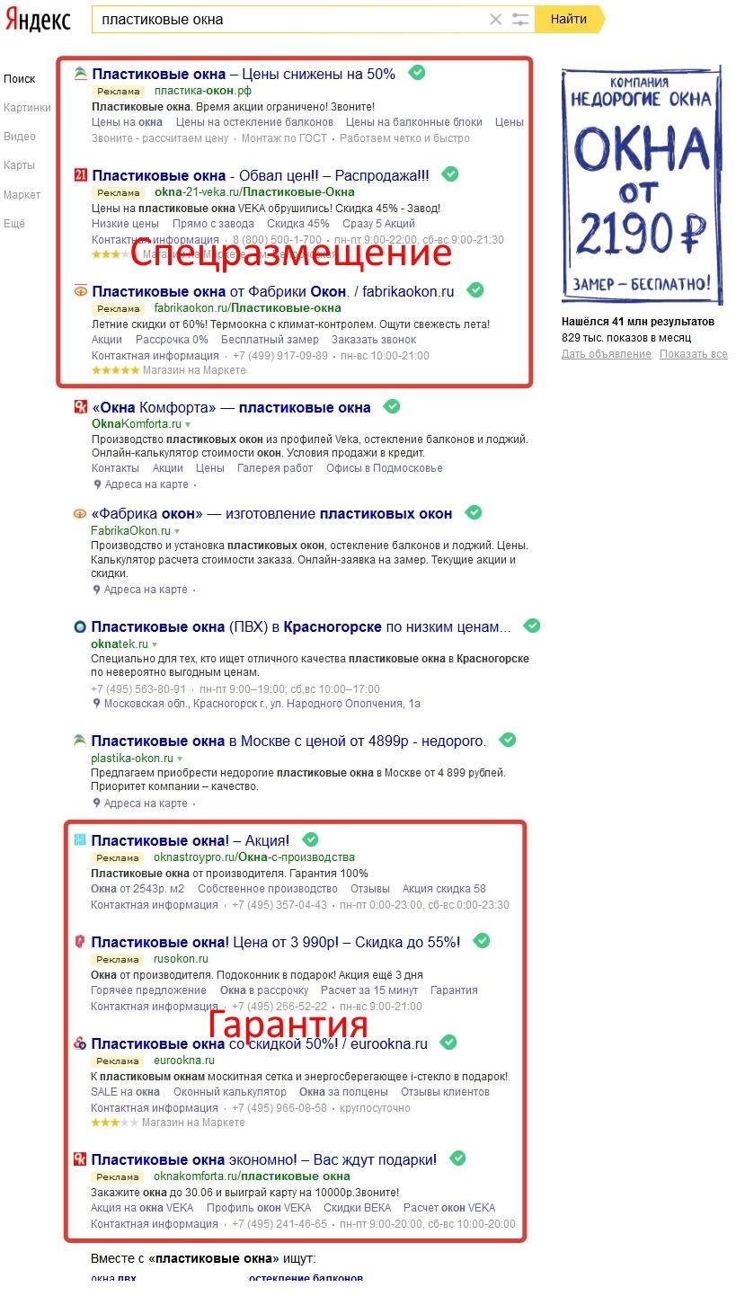 Место показов рекламы Яндекс