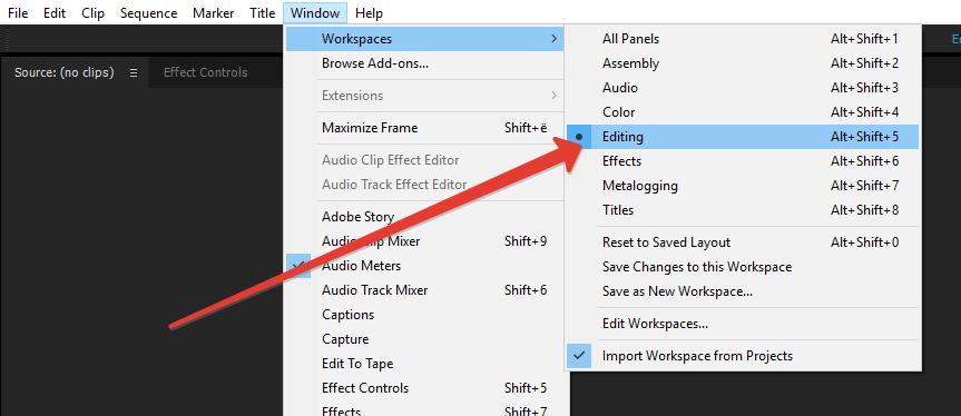 Выбор режима рабочего стола в программе Adobe Premiere Pro
